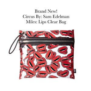 "Sam Edelman ""Miles"" Lips Clear Clutch Bag. New!"